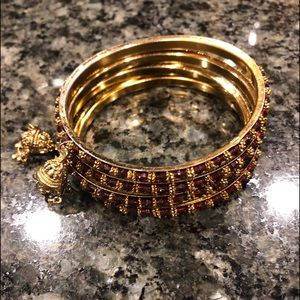 Beautiful gold and ruby bracelets